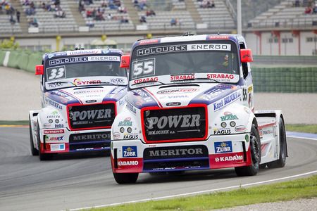 freightliner: European Truck Racing Championship. Adam Lacko of Freightliner compete at Ricardo Tormo circuit on April 25 2015 in Cheste Valencia Spain. Jochen Hahn wins the race
