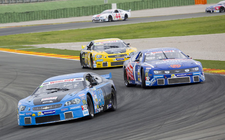 nascar: Some cars compete at Race 1 Elite 1 of Nascar Whelen Euro Series in Ricardo Tormo circuit on April 25 2015 in Cheste Valencia Spain. The winner was Eddie Cheever Editorial