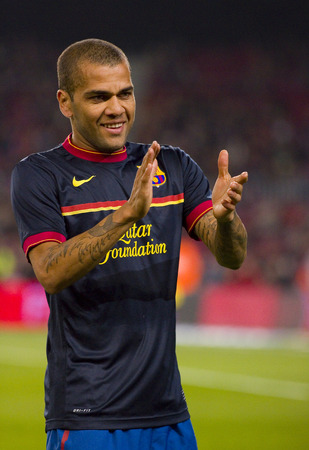 Dani Alves of Barcelona in action during the Spanish Cup match between FC Barcelona and Osasuna final score 4  0 on January 4 2012 in Camp Nou stadium Barcelona Spain Editorial