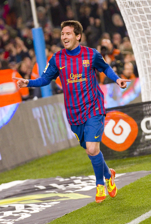 barsa: Lionel Messi celebrating a goal at the Spanish Cup match between FC Barcelona and Osasuna final score 4  0 on January 4 2012 in Camp Nou stadium Barcelona Spain
