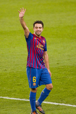 barsa: Xavi Hernandez of Barcelona in action during the Spanish Cup match between FC Barcelona and Osasuna final score 4  0 on January 4 2012 in Camp Nou stadium Barcelona Spain
