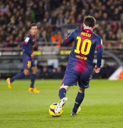 barsa: Lionel Messi of FCB in action at the Spanish League match between FC Barcelona and Osasuna final score 5  1 on January 27 2013 in Barcelona Spain Editorial