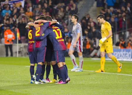 barsa: FCB players celebrating a goal at the Spanish League match between FC Barcelona and Osasuna final score 5  1 on January 27 2013 in Barcelona Spain