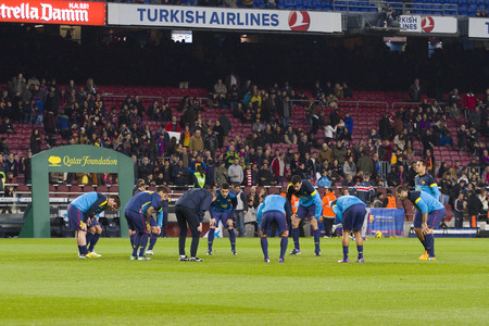 barsa: FCB players before the Spanish League match between FC Barcelona and Osasuna final score 5  1 on January 27 2013 in Barcelona Spain