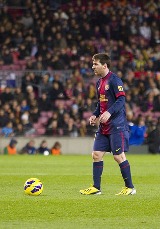 lionel: Lionel Messi of FCB in action at the Spanish League match between FC Barcelona and Osasuna final score 5  1 on January 27 2013 in Barcelona Spain Editorial