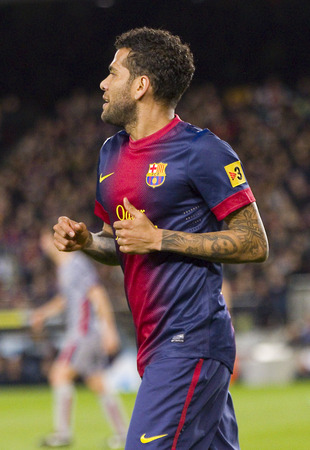 dani: Dani Alves of FCB in action at the Spanish League match between FC Barcelona and Osasuna final score 5  1 on January 27 2013 in Barcelona Spain