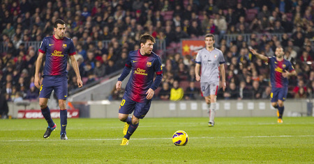 lionel messi: Lionel Messi of FCB in action at the Spanish League match between FC Barcelona and Osasuna final score 5  1 on January 27 2013 in Barcelona Spain Editorial