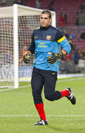 Jose Manuel Pinto of FCB in action at the Spanish League match between FC Barcelona and Osasuna final score 5  1 on January 27 2013 in Barcelona Spain Editorial