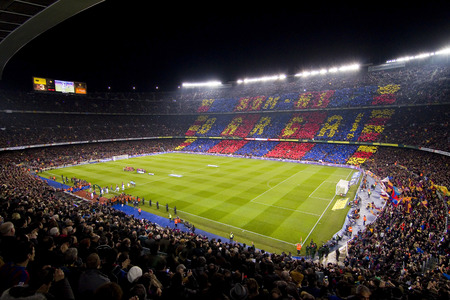 barsa: Camp Nou stadium before the Spanish Cup match between FC Barcelona and Real Madrid 2  2 on January 25 2012 in Barcelona Spain Editorial