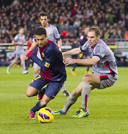 barsa: Pedro Rodriguez  of FCB in action at the Spanish League match between FC Barcelona and Osasuna final score 5  1 on January 27 2013 in Barcelona Spain