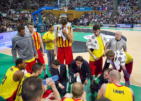 FCB players during a timeout at Spanish ACB Basketball League match between Joventut Badalona and FC Barcelona final score 7480 on May 30 2015 in Badalona Spain Editorial