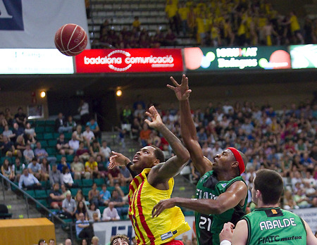 professional basketball league: Tariq Kirksay of JB in action at Spanish ACB Basketball League match between Joventut Badalona and FC Barcelona final score 7480 on May 30 2015 in Badalona Spain