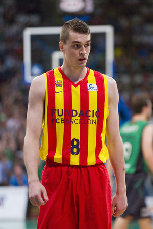 mario: Mario Hezonja of FCB in action at Spanish ACB Basketball League match between Joventut Badalona and FC Barcelona final score 7480 on May 30 2015 in Badalona Spain Editorial