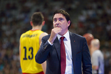 xavi: Xavi Pascual coach of FCB at Spanish ACB Basketball League match between Joventut Badalona and FC Barcelona final score 7480 on May 30 2015 in Badalona Spain