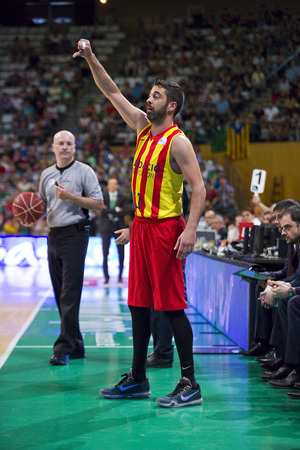 professional basketball league: Juan Carlos Navarro of FCB in action at Spanish ACB Basketball League match between Joventut Badalona and FC Barcelona final score 7480 on May 30 2015 in Badalona Spain