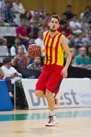 professional basketball league: Tomas Satoransky of FCB in action at Spanish ACB Basketball League match between Joventut Badalona and FC Barcelona final score 7480 on May 30 2015 in Badalona Spain