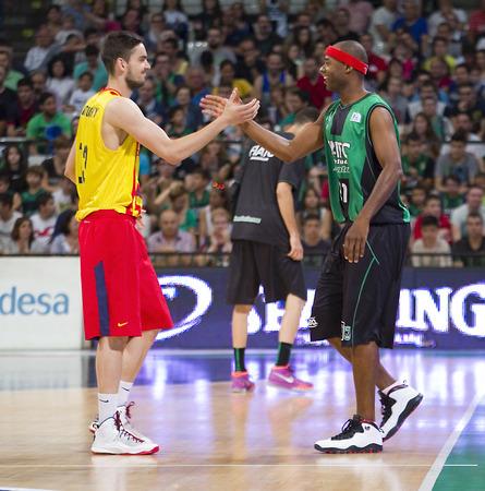 professional basketball league: Tomas Satoransky and Tariq Kirksay at Spanish ACB Basketball League match between Joventut Badalona and FC Barcelona final score 7480 on May 30 2015 in Badalona Spain
