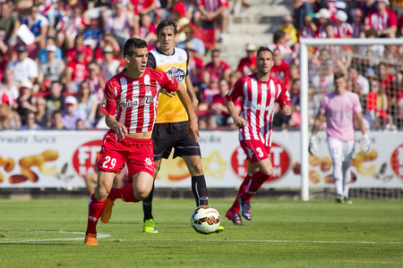 pons: Pere Pons of Girona in action at the Spanish Second Division League match between Girona FC and CD Lugo final score 1  1 on June 7 2015 in Girona Spain Editorial