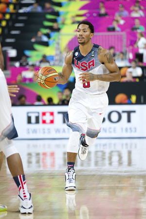 Derrick Rose of USA Team in action at FIBA World Cup basketball match between USA and Mexico, final score 86-63, on September 6, 2014, in Barcelona, Spain