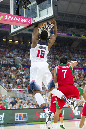 professional basketball league: Andre Drummond of USA Team in action at FIBA World Cup basketball match between USA and Mexico, final score 86-63, on September 6, 2014, in Barcelona, Spain Editorial