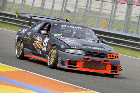 nissan: A black Nissan Skyline take part in American Fest weekend organizated in circuit Ricardo Tormo, on April 25, 2015, in Cheste, Valencia, Spain