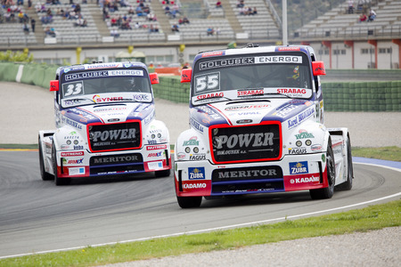 freightliner: European Truck Racing Championship. Adam Lacko of Freightliner compete at Ricardo Tormo circuit, on April 25, 2015, in Cheste, Valencia, Spain. Jochen Hahn wins the race