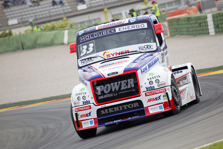 freightliner: European Truck Racing Championship. David Vrsecky of Freightliner compete at Ricardo Tormo circuit, on April 25, 2015 in Cheste, Valencia, Spain. Jochen Hahn wins the race Editorial