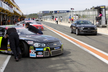 nascar: Some cars at Race 1 Elite 1 of Nascar Whelen Euro Series in Ricardo Tormo circuit, on April 25, 2015, in Cheste, Valencia, Spain. The winner was Eddie Cheever Editorial