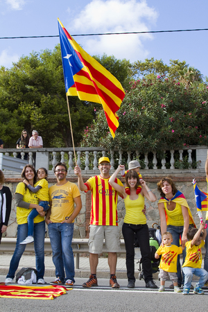 plebiscite: Catalans made a 400 km human chain to show their desire for independence from Spain, on Sept. 11, 2013 in Barcelona, Spain. More than 1 million people took part in the event Editorial