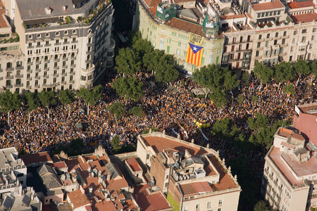 demonstrator: Up to a million people converge on Barcelona to join a rally demanding independence for Catalonia, on July 10, 2010, in Barcelona, Spain