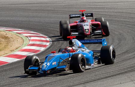 anton: Anton Nebylitskiy and Daniel Zampieri racing at Formula Renault 3.5 World Series, on October 9, 2011, in Circuit de Catalunya, Barcelona, Spain