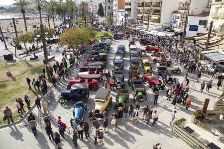 museum rally: Some cars exposed after the 58th Vintage Car Rally, on April 3, 2016, in Sitges, Barcelona, Spain Editorial