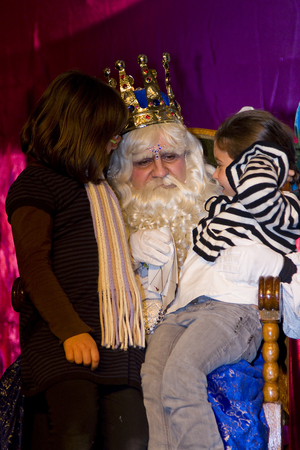 Biblical Magi, who receive letters from children and so bring them gifts on the night before. Is a traditional spanish celebration. January 5, 2012 in Alella, Barcelona