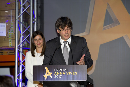 Carles Puigdemont, President of the Generalitat of Catalonia, attends the Anna Vives awards ceremony in Banc Accio Social, on May 25, 2017, in Barcelona, Spain