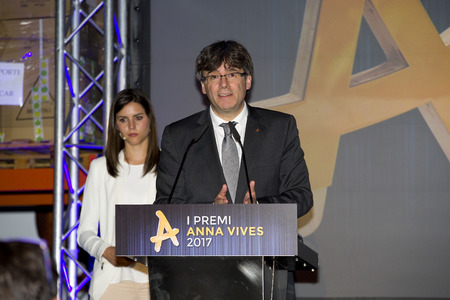referendum: Carles Puigdemont, President of the Generalitat of Catalonia, attends the Anna Vives awards ceremony in Banc Accio Social, on May 25, 2017, in Barcelona, Spain