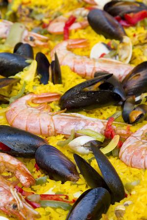 Spanish rice Paella Stock Photo