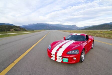 A Dodge Viper SRT take part in Road and Track racing weekend organized by American Car Club, on October 6, 2012, in the airport of La Seu d'Urgell, Spain. Editöryel