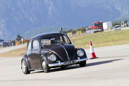 A Volkswagen Beetle take part in Road and Track racing weekend organized by American Car Club, on October 7, 2012, in La Seu Urgell, Spain. Editöryel