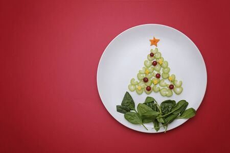 Creative edible vegan christmas tree, food art. Food for kids and festive table. Tree made from celery on a plate on red background. Stockfoto