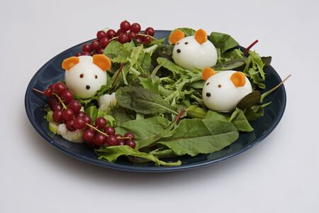 Creative edible christmas rat, mouse food art. Food for kids and festive table. Rat made from eggs on a plate with green salad