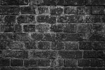 Empty modern black dirty brick wall texture for background