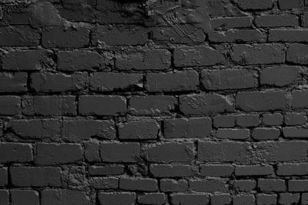 Empty modern black brick wall texture for background