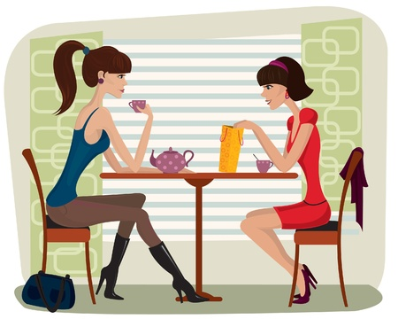 Two beautiful women in cafe Stock Vector - 8846284