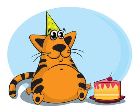 Cartoon fanny cat sitting with cake Vector