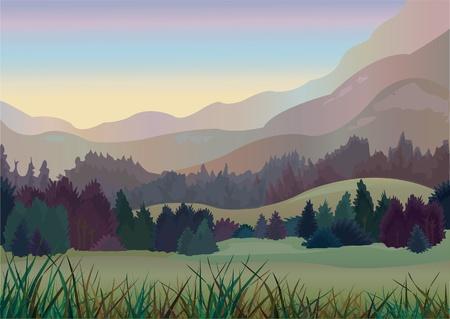sunrise mountain: Autumn trees in mountains