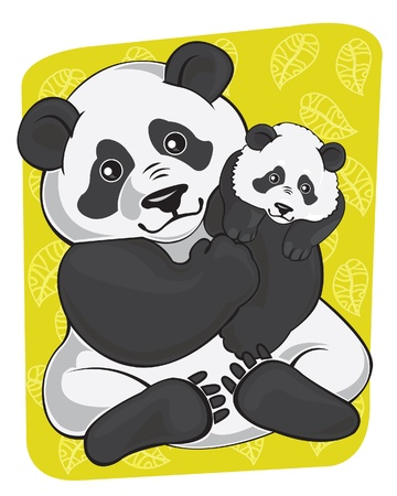 Cartoon fanny panda and panda baby on green background Vector