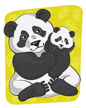 greenpeace: Cartoon fanny panda and panda baby on green background