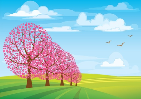 Group of pink trees on blue sky and green meadow