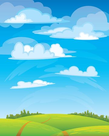 Group clouds on blue sky and green meadow with road Stock Vector - 8846290