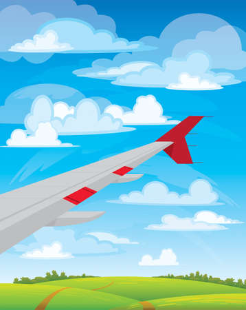Wing of flying airplane on blue, white clouds and green meadow Vector